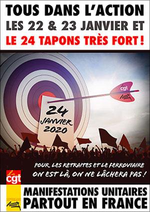 Affiche - Appel à manifester les 22/23/24 janvier 2020