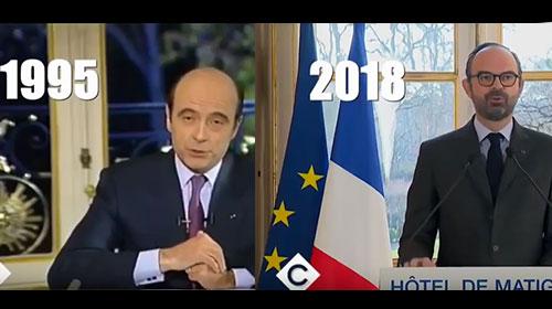 Parallèle entre l'intervention d'Alain Juppé en 1995 et celle d'Édouard Philippe en 2018 sur la remise en cause de la SNCF.