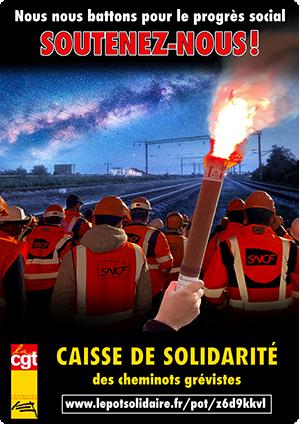 Solidarité grévistes cheminots - grève retraites