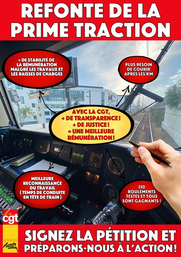 Affiche de la pétition pour la revalorisation de la prime traction